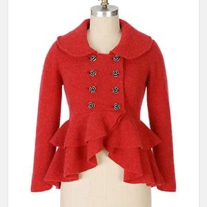 Anthropologie Charlie & RobinRed Rose Sweatercoat